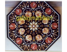 Black inlay table top with rose flowers BIOC-36121