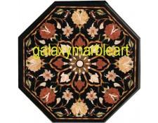 Marble inlay black table top with big workmanship BIOC-23156