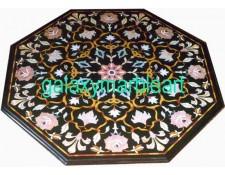 Black table top with big inlay work BIOC-36188