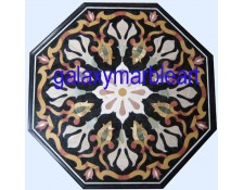 Black marble inlay table top imarti workmanship BIOC-2301
