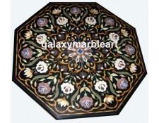 Marble inlay, Taj Mahal inlay Art, Pietra Dura black table top BIOC-4202