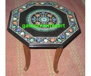 Marble inlay sun flower design black table top BPOC-18134