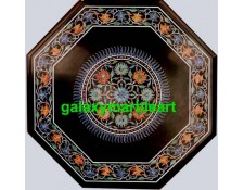 Marble inlay black table top with sunflower design from Taj Mahal BPOC-1874