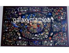 "Classical Pietra Dura Italian design inlay black table top 72*45"" BIRE-3"