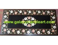 "Black Coffee table top with Taj Mahal inlay work 36*23"" BIRE-7"