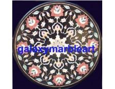 "black marble , Rose flower,Imarti work inlay table top 36"" BIRO-36171"