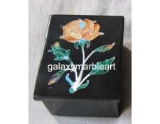 black marble Taj Mahal  inlay work  box-RE1