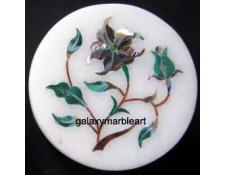Decorative stone inlaid makrana marble box-RO224