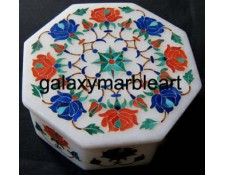 rose flowers coral stones inlay box-OC3541