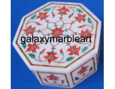 coral stones inlaid marble box-OC3113