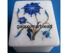 marble box with semi-precious stones inlay work box-RE22507