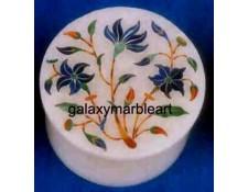 floral inlay lapislazuli stones marble box-RO25108