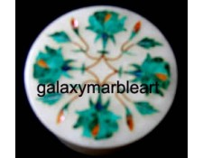 marble inlay rose flower with Malachite stone box-RO25110