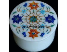 TaJ Mahal inlay work marble box-RO301