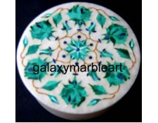 Marble inlay box with rose flowers in Malachite RO493