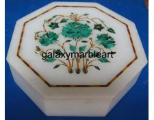 Decorative stone inlaid makrana marble box-OC605