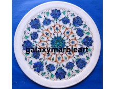 Galaxy Marble Art-Makrana marble plate with inlay work plate Pl-1101