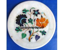 Multi-colored floral design inlay plate Pl-605