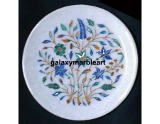 Floral design marble inlay plate with intricate work Pl-606