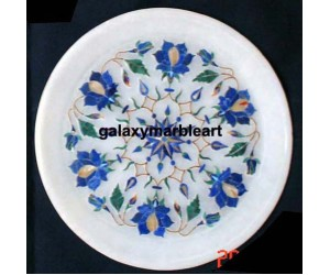 Wall decor marble inlay plate with geometric pattern Pl-607