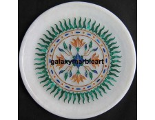Wall decor marble inlay plate with sun flower pattern Pl-609