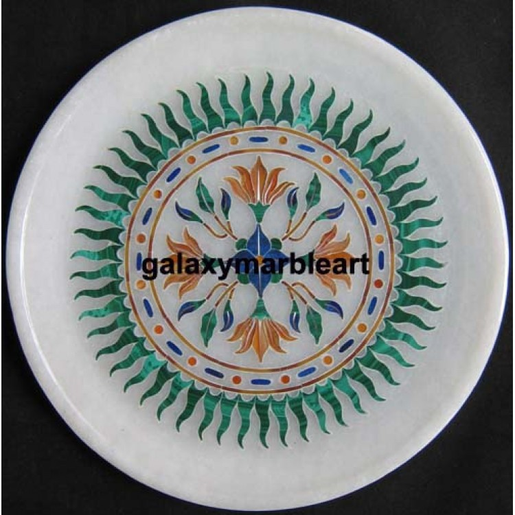 Wall Decor Marble Inlay Plate With Sun Flower Pattern,Agra