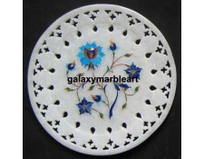 Marble inlay wall plate  with  filgree work in lapis-turquoise combination plate Pl-614