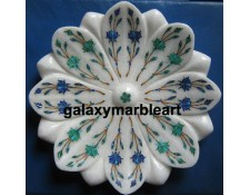Marble inlay work lotus shaped plate for putting flower petals plate Pl-810