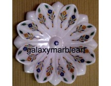 A lotus flower shape marble inlay work plate Pl-812