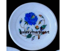 Rose flower marble inlay plate Pl-507