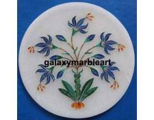 Floral design lapislazuli stones inlay work marble plate Pl-512