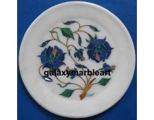 rose flower floral pattern wall decor marble inlay plate Pl-516