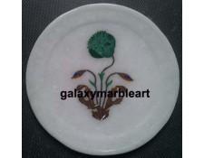 Poppy flower in Malachite stone plate Pl-529
