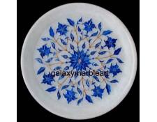 Lapislazuli stones inlaid,Agra art, TAJ MAHAL work marquetry handmade with geometrical layout plate pl-702