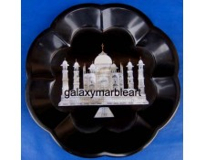 Black plate with Taj Mahal of Shell with engraving plate pl-704