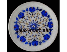 Rose flower plate with geometrical design with lapis lazuli stone plate pl-705
