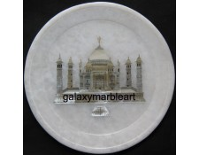 Marble plate with mother of pearl Taj Mahal engraved pl-711