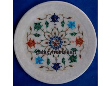 Marble stones inlaid plate,gift purpose,wall decoration round Pl-714