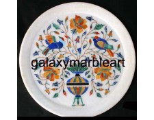 Marble inlay plate with birds and  flower vase design  Pl-908