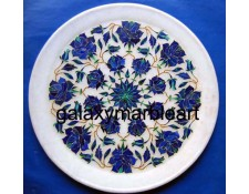 Marble inlay marquetry plate with flower design  Pl-903