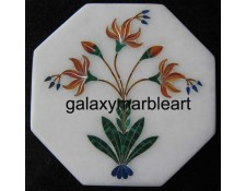 "marble tile with intricate inlay work oct  5"" TP-501"