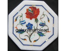 "Indian marble inlay tile oct  5"" TP-505"
