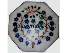 "White marble inlay tile oct  5"" TP-508"