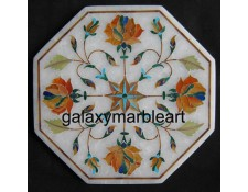"Exquisite marble tile with stones inlay oct  5"" TP-578"
