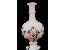 """Marble inlay vase ht 10"""" V-10"""