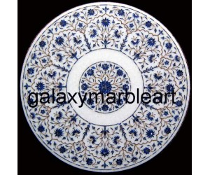 """Stones inlaid white marble table top 20"""" WP-2003"""