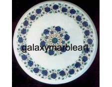 round table top with semi-precious stones inlay work  WP-1701