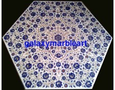 """Marble inlay hexagonal shaped table top 35"""" WP-3501"""