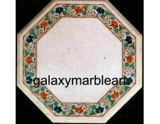 Marble inlay table top with border design WP-16114