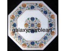 Stone pietre dure white marble table top WP-1802